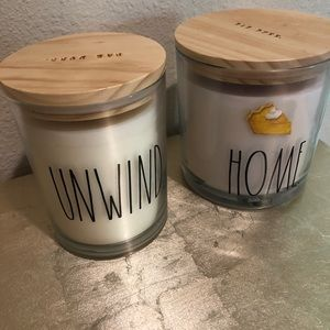 RAE DUNN HOME & UNWIND CANDLE LOT OF 2